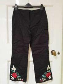 Next Black Cotton Cropped Trousers with embroidery detail - never worn still has tag on