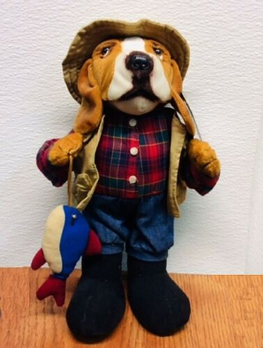 "14"" STUFFINS Inc. ~ Basset Hound Fisherman ~  PLUSH ~ VERY RARE w/Tags Brand NEW"