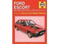 Haynes Service and Repair Manual for Ford Escort mkIII & IV Sept 1980 -Sept 1990 H Reg