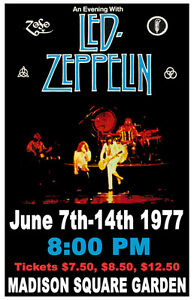 1977 Led Zeppelin Madison Square Garden Concert Poster Ebay