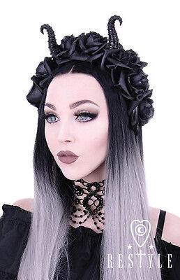 Restyle Diabolical Roses Punk Gothic Rocker Horns Maleficent Cute Girl Headband