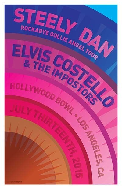 Steely Dan Elvis Costello Hollywood Bowl Gig Concert Poster