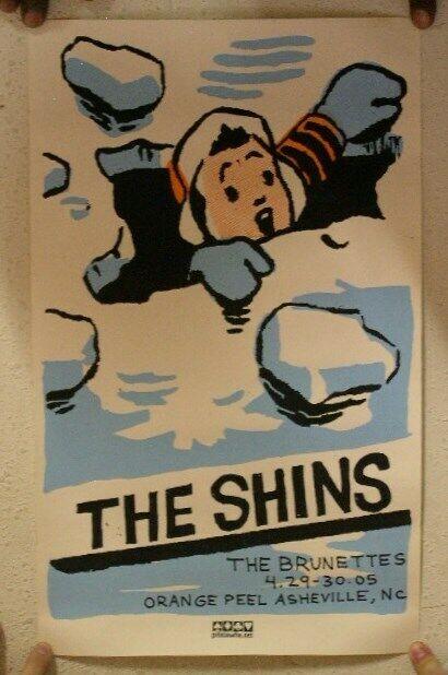 The Shins The Brunettes Poster Silkscreen 04-29/30-05 Asheville, NC