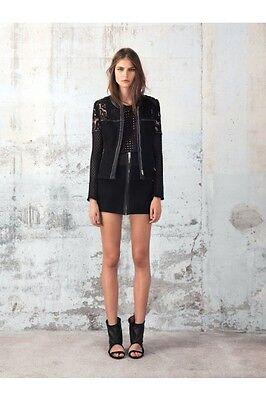 NWT IRO Waffle Cotton/Leather Mini-Skirt in Black $439 size 0