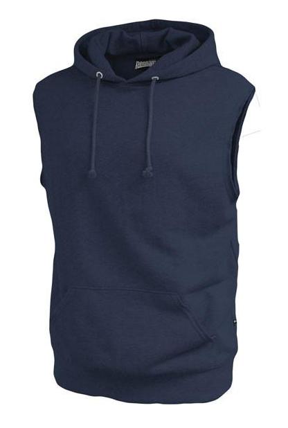 Men's Sleeveless Pullover Hooded Sweatshirt Solid Cotton Ves