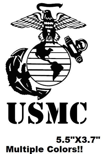 "USMC Marine vinyl decal window sticker  5.7""X3.7"" multiple colors available"