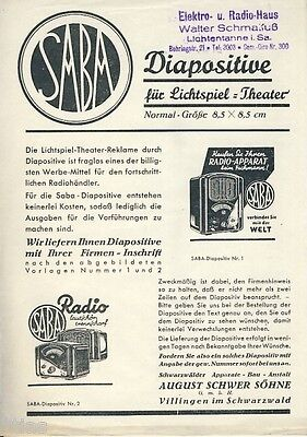 SABA   Diapositive für Lichtspiel Theater Prospekt um 1935 Kino Dia Reklame