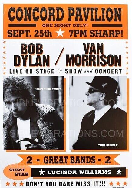 Bob Dylan & Van Morrison Concert Poster Concord 1998