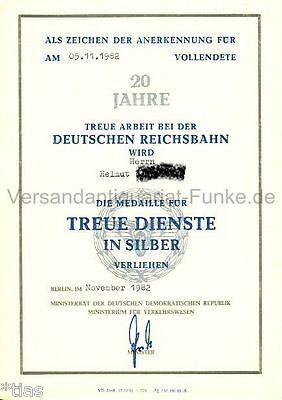 Deutsche Reichsbahn der DDR Urkunde für Medaille treue Dienste Silber 1982