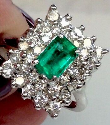 VINTAGE NATURAL EMERALD DIAMOND HALO STYLE ENGAGEMENT RING SOLID 14K WHITE GOLD