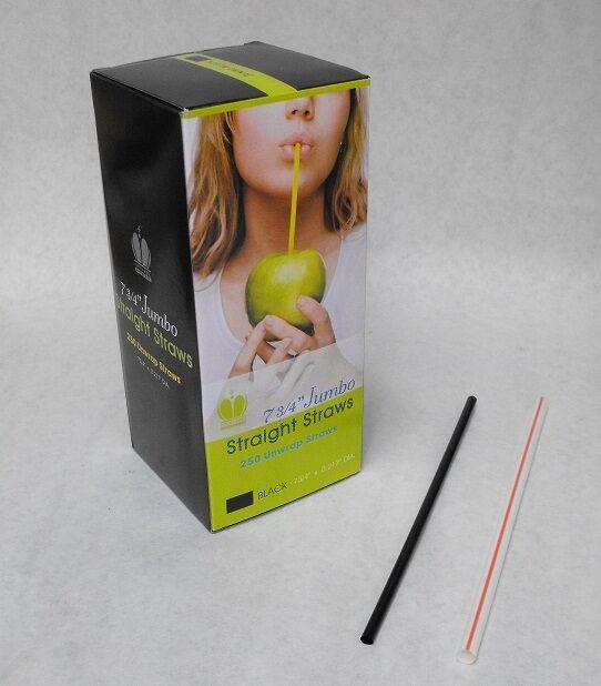 "250 piece 7.75"" BLACK Plastic Jumbo Size DRINKING STRAWS Milk Juice Tea Soda"