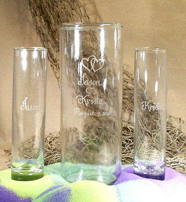Wedding Unity Sand Ceremony Set Personalized Cylinder Vase, Heart art -