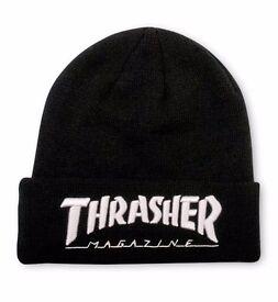 Thrasher Magazine Black White Beanie Wool Hat Supreme Palace Skateboards Bathing Ape Stussy Nike