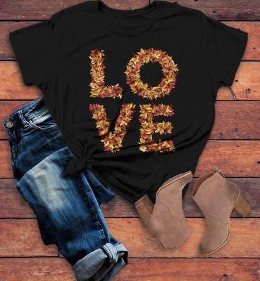 Women's  Love Fall T Shirt Leaves Graphic Tee Season Shirts Leaf Shirts Typograp