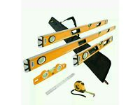 JCB magnetic 6 piece spirit level set with a tape measure