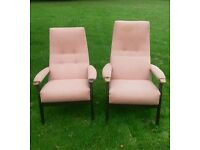 Parker knoll pair of high backed easy chairs with lumbar support His & Hers