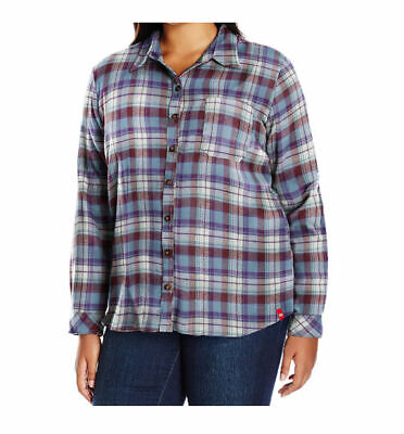 Dickies Women's Long Sleeve Plaid Flannel Shirt in Multicolo