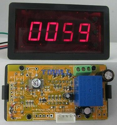 12V 4 Digits Red LED Counter Panel Meter DC Up Down Totalizer with Relay output