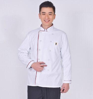 Long Sleeve Kitchen Cook Working Uniform Chef Waiter Waitress Coat Jacket White