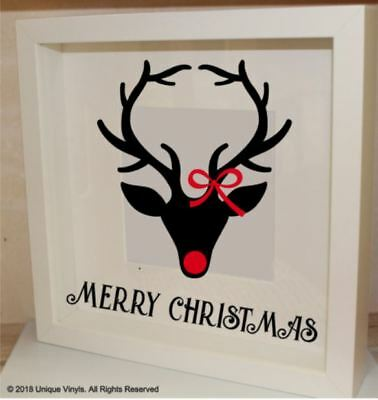 Merry Christmas, Reindeer Sticker for IKEA RIBBA BOX FRAME GIFT, Christmas Decor (Reindeer Decorations For Christmas)