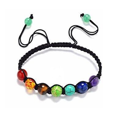 Multi Colored Gemstone Charm (Yoga Chakra Multi Colored Stone 6MM Fashion Charm Prayer Adjustable)