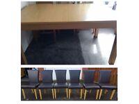 Ikea Bjursta Oak Veneer Extending Table & 6 Brown Faux Leather Chairs Oak Legs FREE DELIVERY 683