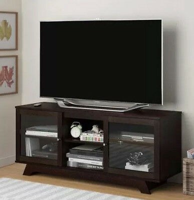مكتبة تلفزيون جديد Cherry Finish 55-Inch TV Stand Entertainment Center Wood Media Storage Cabinet