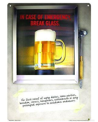 Case Emergency Break Glass (In Case Of Emergency Break Glass Metal Mancave Bar PubTin Sign)
