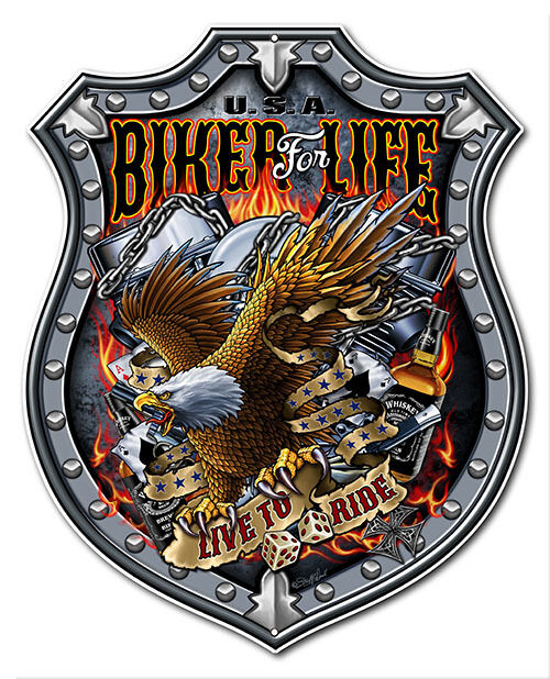 Garage Shop Art Motorcycle Sign U.S.A. Biker For Life Shield Sign12x15