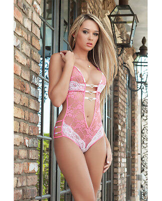 FULLY LACED TEDDY PINK TRIPLE HEART CHARMS IN FRONT & FLIRTY BOWS SIDE LINGERIE