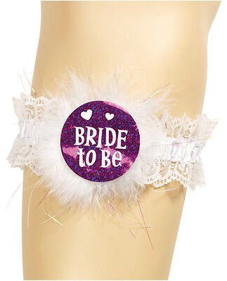 Bride to Be Bridal Garter for a Bachelorette Party Cute Lace with Sexy Marabou on Rummage