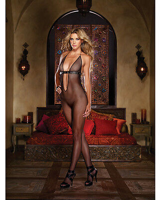 - FISHNET OPEN CROTCH BODYSTOCKING DEEP V FRONT & BACK WITH ADJUSTABLE NECK TIE