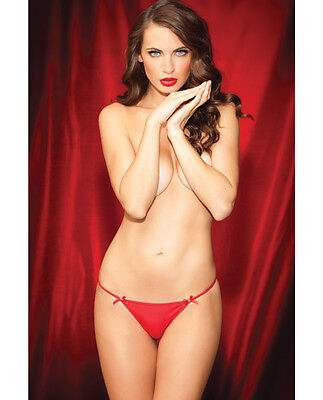 Girl Shows Thong - RENE ROFE SHOW GIRL GLAMOROUS RED G-STRING FRONT BOWS & RHINESTONE BACK Size L