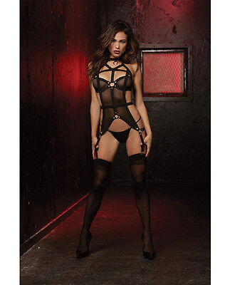- STRETCH MESH ELASTIC BUSTIER WITH ATTACHED GARTERS STRAPPY BACK & G STRING SET