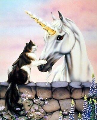 Friends Wall Decor (Wall Decor Friends Dawe Cat Unicorn Wizard Fantasy Horse Animal Art Print 16x20 )
