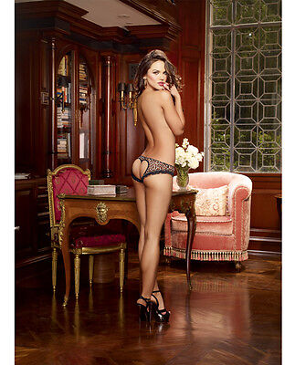 - LEOPARD PRINT STRETCH MESH WITH SPANDEX OPEN HEART BACK CHEEKY PANTY Size S-4X