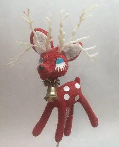 Vintage Red Felt Plastic Reindeer Christmas Pick Spotted Red Blue Eyes A9