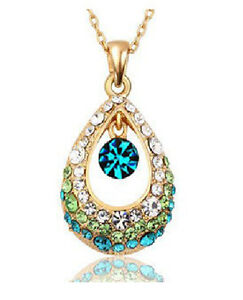 New jewelry Fashion crystal teardrop Retro Pendant sweater Chain Necklace N154