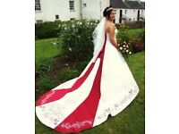 Stunning Alfred Angelo Ivory & Red A-Line Wedding Dress for sale.
