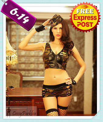 Military FBI Army Soldier Uniform Fancy Dress Party Halloween Costume Hat Gloves (Fbi Halloween Costumes Women)