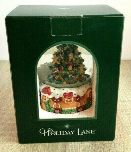 Holiday Lane Musical Water Snow Globe Christmas Tree and Gingerbread People NEW