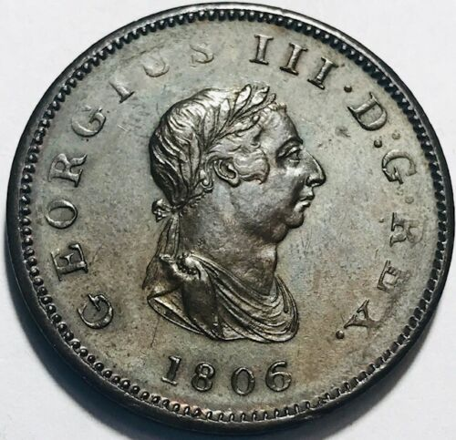 GREAT BRITAIN - George III - Half Penny - 1806 - AU - Highly Lustrous Fields!