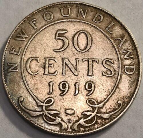 Canada - NEWFOUNDLAND - George V - Toned Silver 50 Cents - 1919C - KM-12