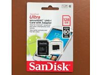 Sandisk 128GB Micro SD card for sale.