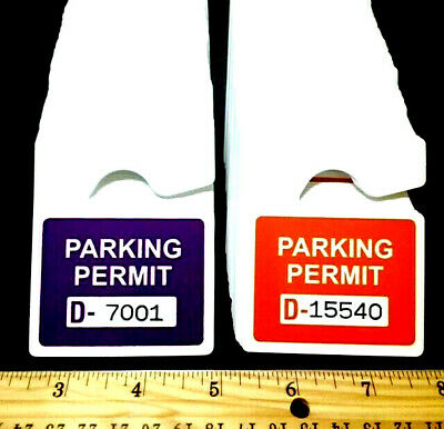 Lot Of 5 Purple Or Orange Rearview Mirror Metallic Parking Permits Wfree Number