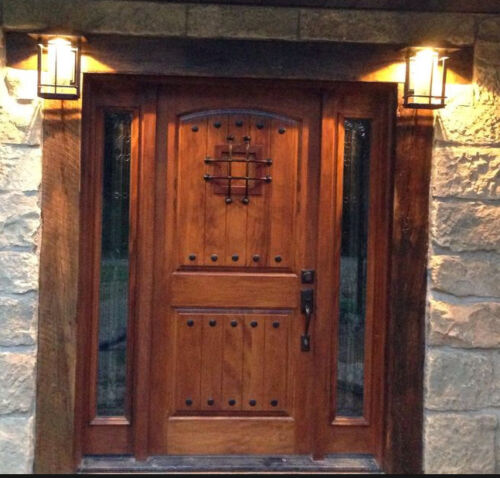 EX-1336 Rustic Knotty Alder Entry Door With Sidelites