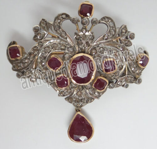 3.30ct Rose Cut Diamond Antique 925 Silver Ruby Gemstone Brooch