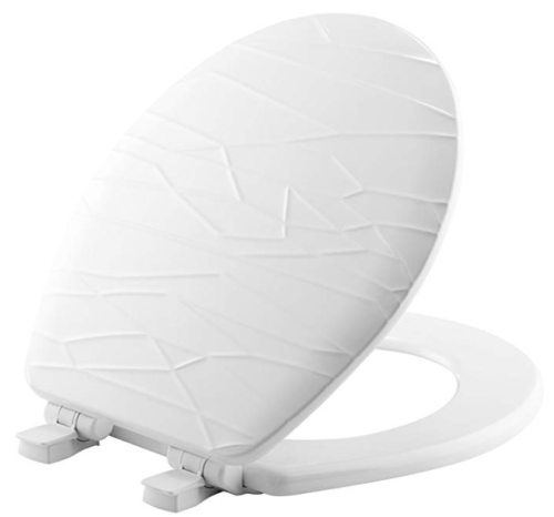 Bemis 37SLOW 000 Wood Sculptured Toilet Seat, Round, White