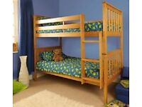 BRAND NEW ATLANTIS PINE BUNK BED ANTIQUE/CARAMEL splits into two beds