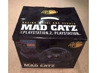 Mad Catz Video Game Racing Steering Wheel for PlayStation 2